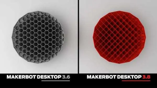 Dois Modelos impressos em 3D. Do lado direito modelo impresso em cinza pelo software 3.6. Lado esquerdo modelo vermelho impresso por software 3.8