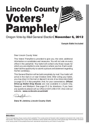 Oregon ballot voter information: sample  pamphlet