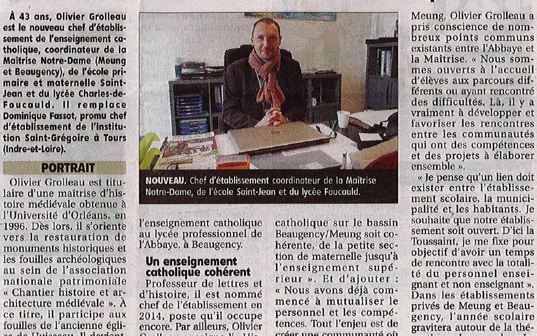 Focus sur notre Directeur, Olivier GROLLEAU dans LA REP