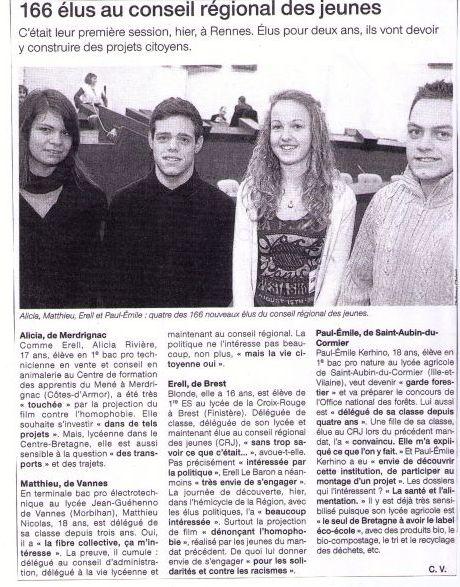 Aticle Ouest France du 09 décembre 2010