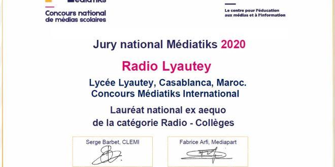 Notre web radio est lauréate nationale ex aequo de Médiatiks 2020 dans la catégorie Radio – Collèges.