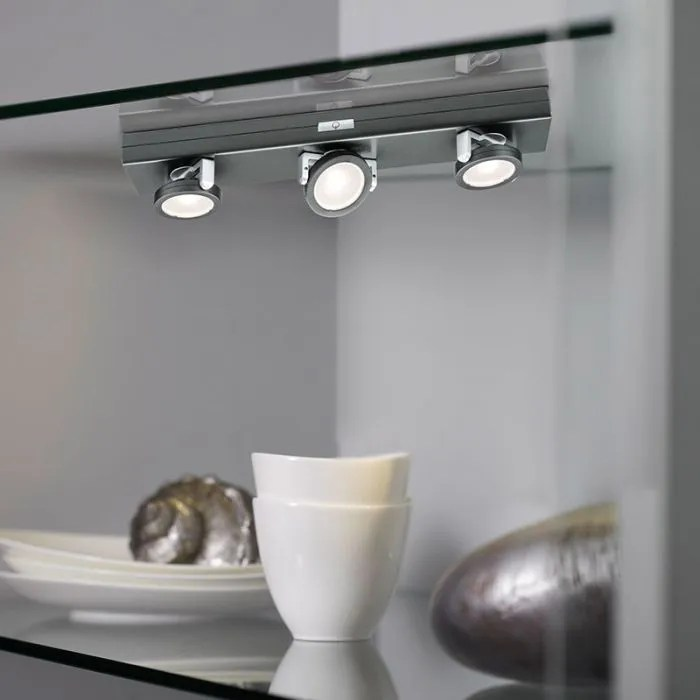 rotate 3 light led battery operated under cabinet light anthracite