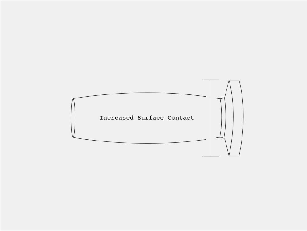 medium resolution of increased contact surface for less wear and tear