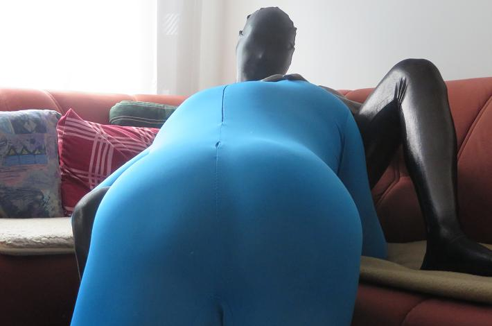 Lycraman featuring Blue zentai suit