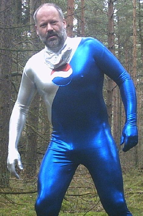 Lycraman featuring Pepsi zentai suit
