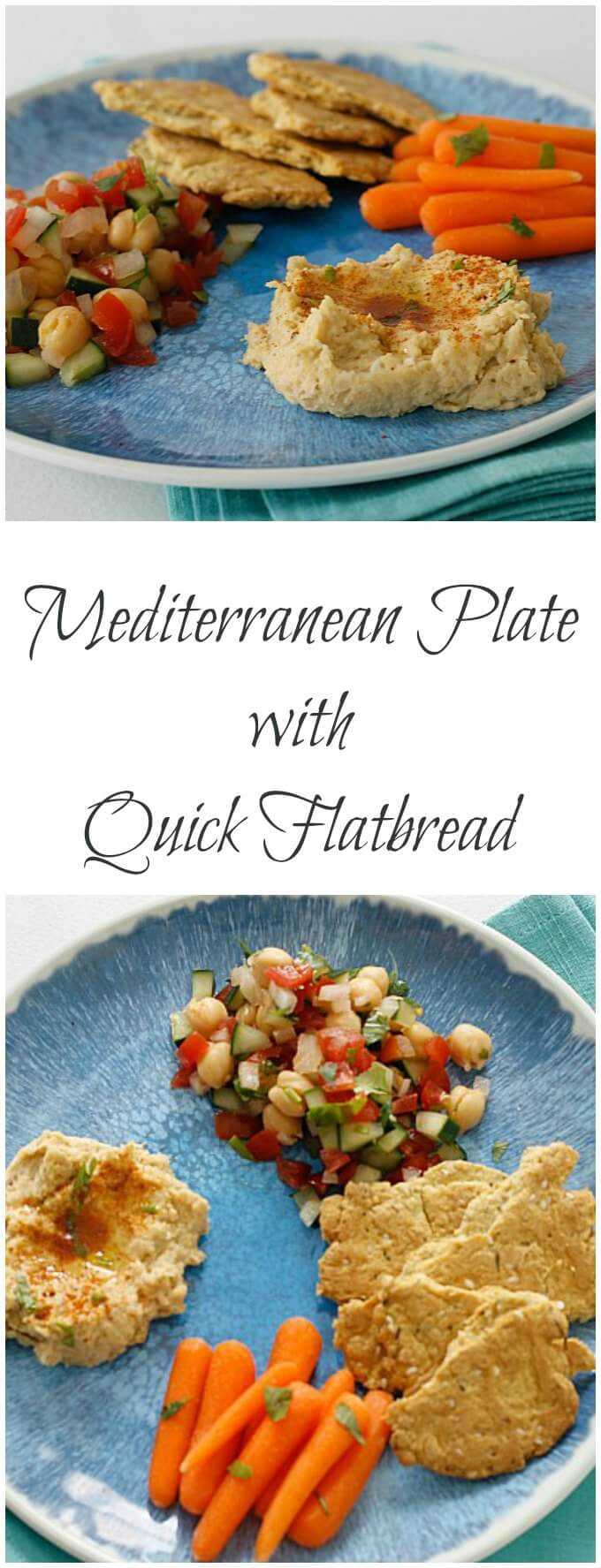 Mediterranean Plate with Quick Flat Bread ~ Mix and Match Homemade and Store Bought Ingredients to Suit Your Mood ~ Lydia's Flexitarian Kitchen
