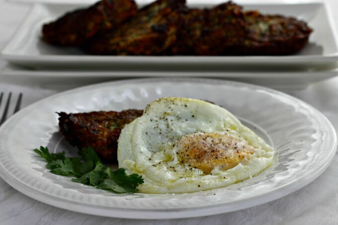 Zarangollo ~ Zucchini Fritters with Fried Egg ~ Lydia's Flexitarian Kitchen