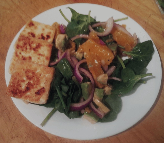 fried tofu and salad