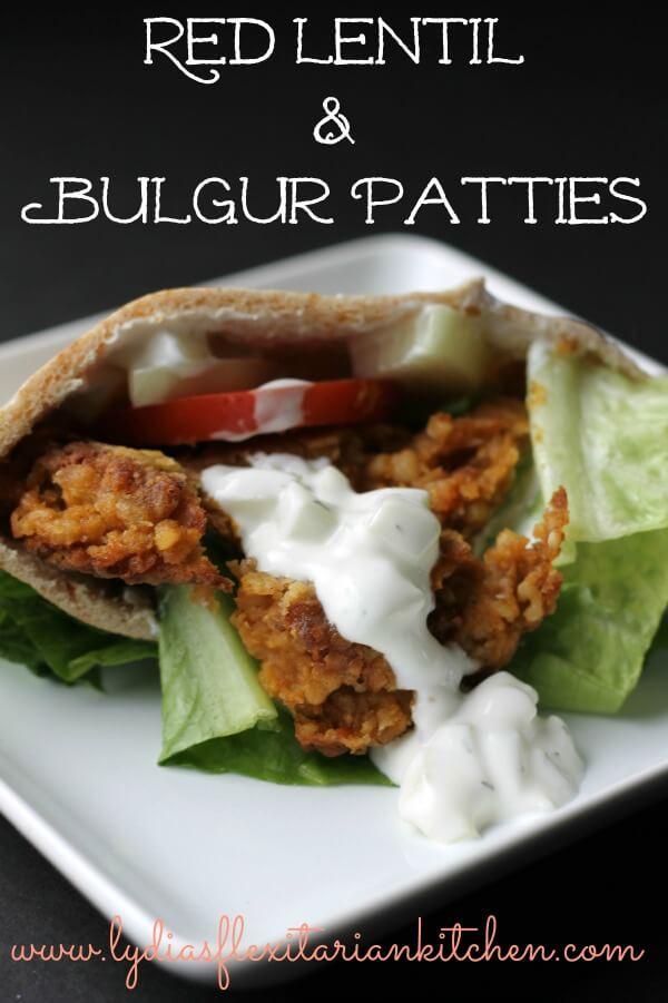 Red Lentil and Bulgur Patties ~ Lydia's Flexitarian Kitchen