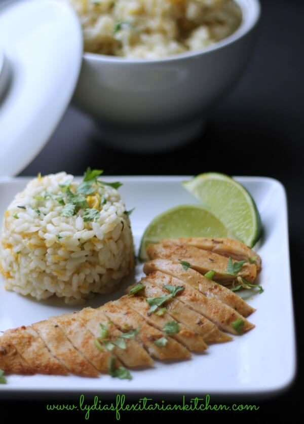 Tropical Chicken with Coconut Mango Rice ~ Lydia's Flexitarian Kitchen