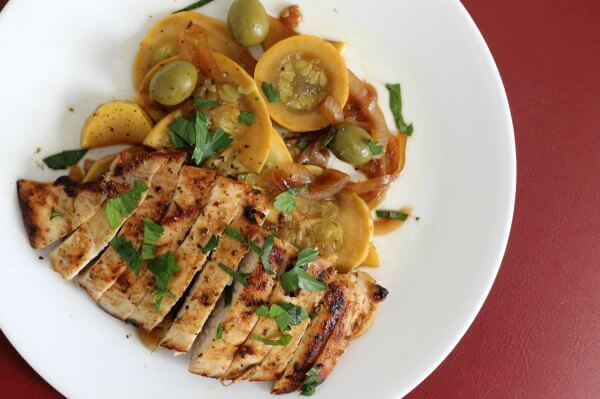 Moroccan Spiced Chicken with Summer Squash and Olives
