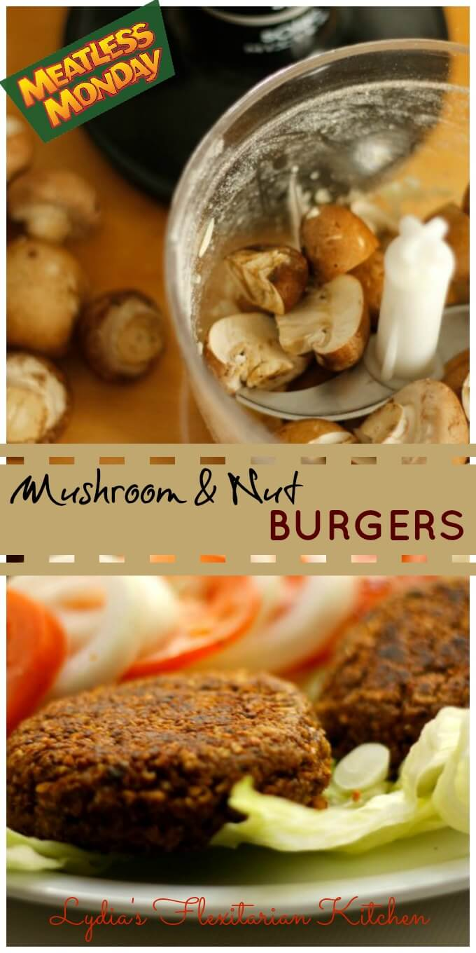 Mushroom & Nut Burger ~ #MeatlessMondays ~ Lydia's Flexitarian Kitchen