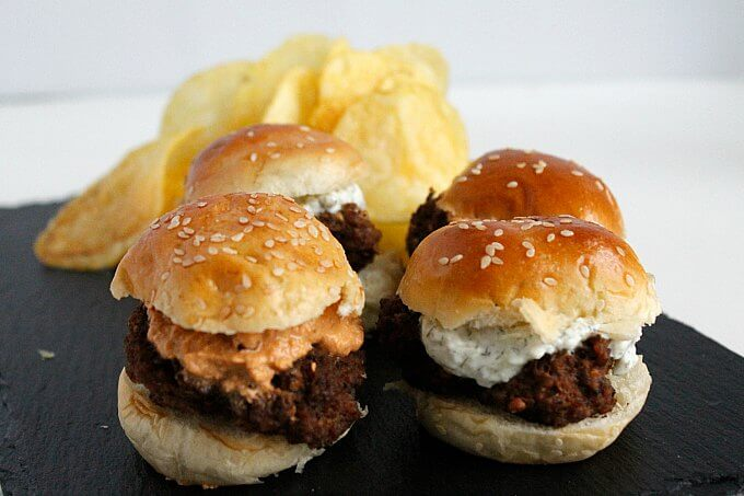 Turkish Meatball Sliders with Two Sauces ~ Lydia's Flexitarian Kitchen