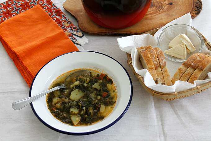 Caldo Verde ~ Veggie Friendly, Use Your Favorite Greens ~ Lydia's Flexitarian Kitchen