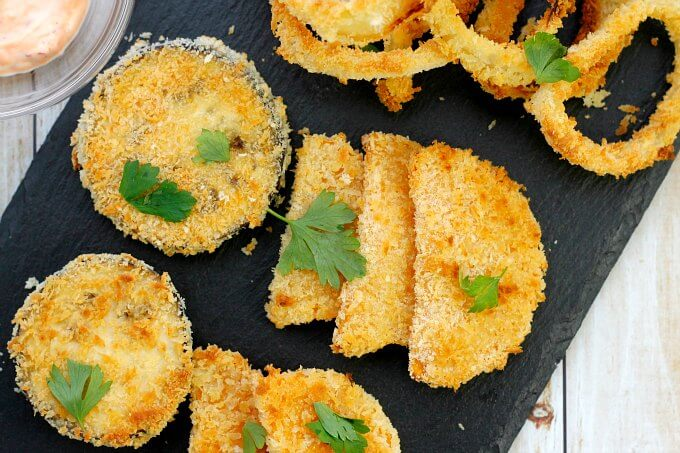 Oven Fried Onions Rings and Other Veggies ~ Crispy Not Oily ~ Lydia's Flexitarian Kitchen