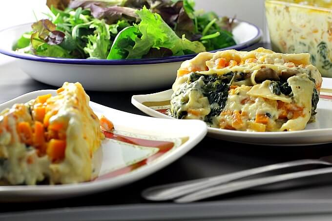 Butternut Squash and Spinach Lasagna for Two ~ Lydia's Flexitarian Kitchen