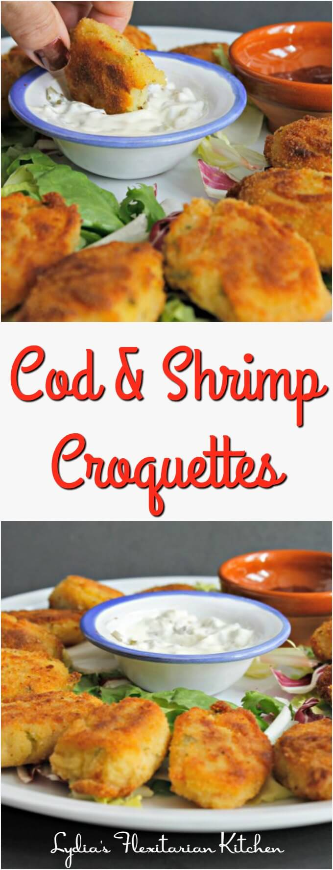 Cod and Shrimp Croquetttes ~ #TheRecipeReDux ~ Lydia's Flexitarian Kitchen