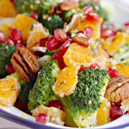 Broccoli Citrus Salad ~ Packed with Superfoods, this oil free salad will cure the Winter Blues ~ Lydia's Flexitarian Kitchen