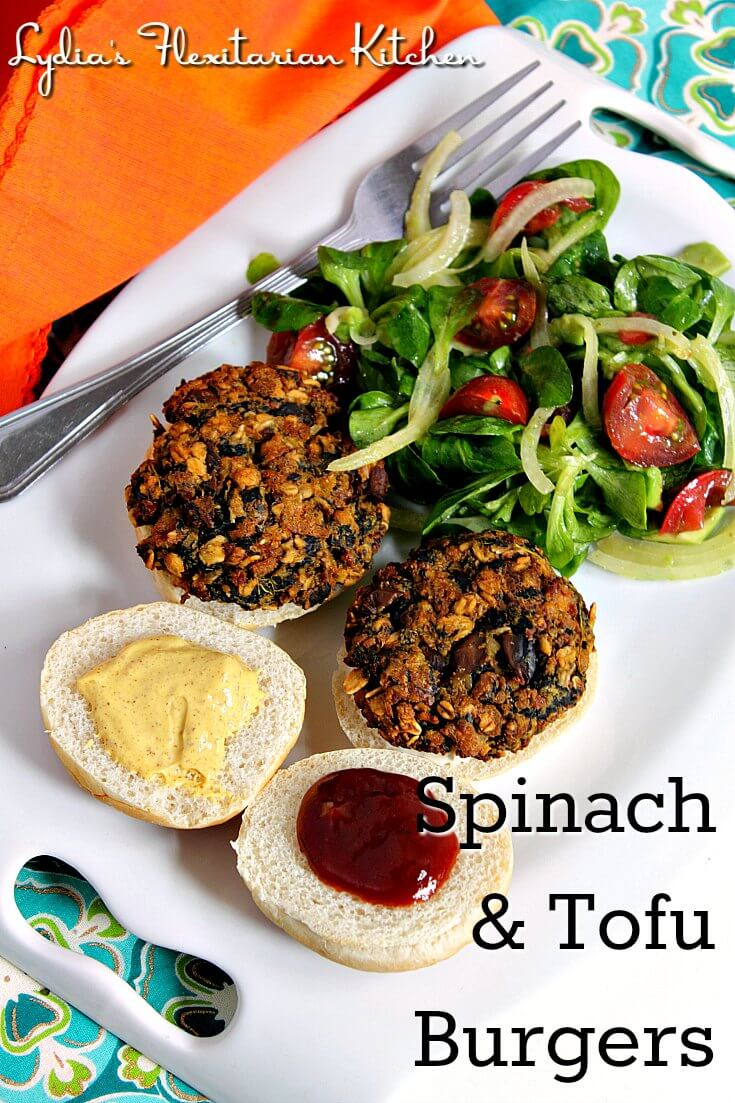Spinach Tofu Burgers ~ Lydia's Flexitarian Kitchen