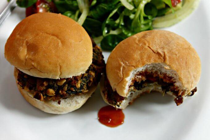 Spinach Tofu Burgers ~ Lydia's Flexitarian Kitchen