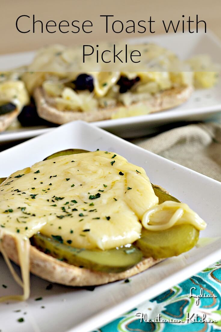 Cheese on toast is good, but when you contrast the cheese with a tangy pickle you have a great snack!