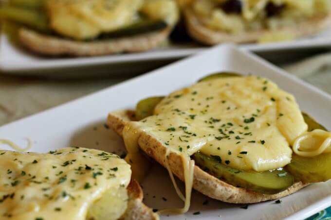 Cheese toasts with pickle...sounds odd, tastes great! ~ Lydia's Flexitarian Kitchen