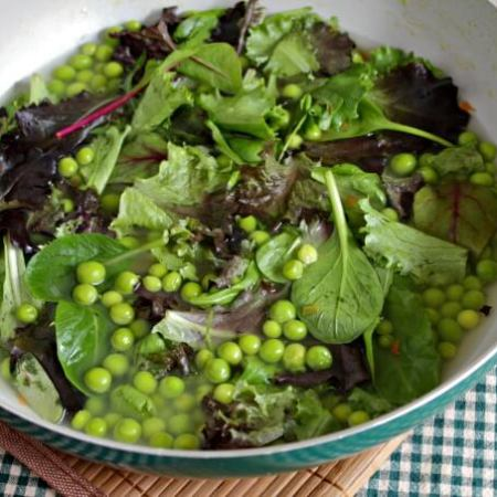 Fresh Peas and Lettuce ~ Lydia's Flexitarian Kitchen