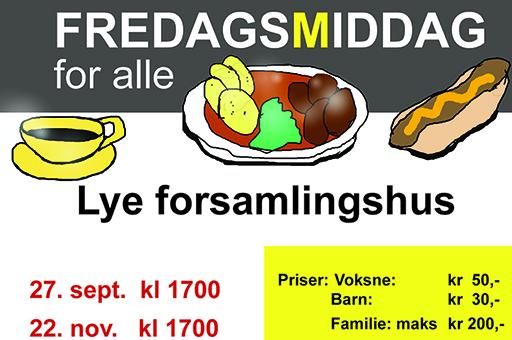 Klart for FREDAGSMIDDAG 27. september
