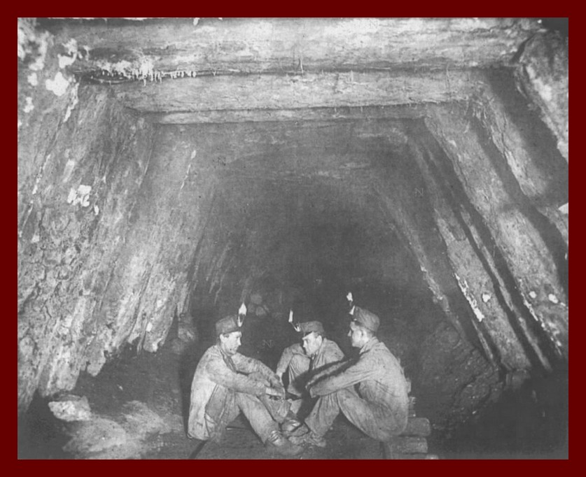Mine Gangway with Miners Relaxing on Rails – Lykens Valley