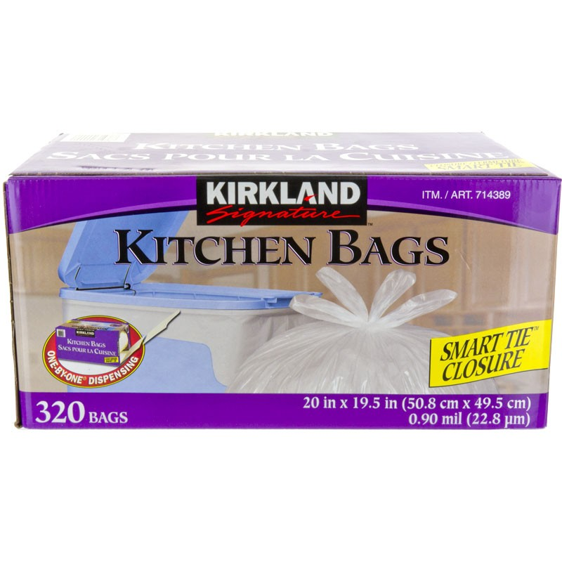 kitchen garbage bags tall can kirkland signature white 320pk