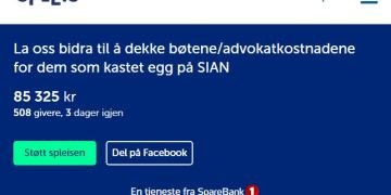 Spleis.no i regi av SpareBank1 har tillatt at nettjenesten deres brukes til kriminell aktivitet og brudd på norske lover. Politiets bøter til voldelige aktivister skal finansieres gjennom SpareBank1 sin nettside. (Skjermbilde / Spleis.no / SpareBank1).
