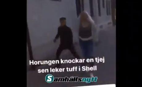 BRUTAL RASISTISK VOLD I SVERIGE. (Skjermbilde/video i artikkelen).