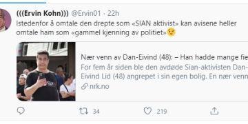 MOBBER AVDØD SIAN-MEDLEM. (Skjermbilde / Ervin Kohns offisielle Twitter-profil).