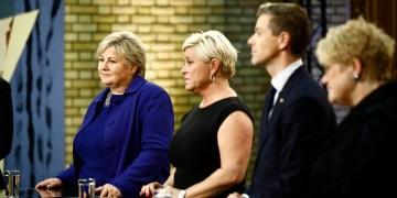 HAR ÅPNET SLUSENE TIL NORGE: (F.v.) Erna Solberg (H), Siv Jensen (Frp), Knut Arild Hareide (KrF) og Trine Skei Grande (V). 2017. Foto: Stortinget.  (CC BY-NC-ND 2.0)