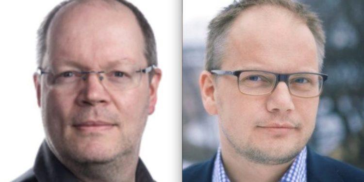 Sp-politiker Morten Olsen Haugen (t. v.) har ifølge Document prøvd å sensurere Wikipedia-artikkel om den pedofil-dømte partifellen Ole Morten Geving (t. h.). FOTO: Foto: privat og Sparebankforeningen.
