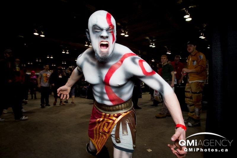 Tyler Breland gives a convincing Kratos roar from God of War during the closing hour of the Calgary Comic and Entertainment Expo at the BMO Centre in Calgary, Alta., on Sunday, April 27, 2014. The packed weekend event featured celebrities, panel discussions and, of course, tons of costumed fans. Lyle Aspinall/Calgary Sun/QMI Agency