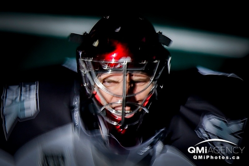 Calgary Roughnecks goalie Mike Poulin is introduced before NLL action against the Minnesota Swarm in Calgary, Alta. on Saturday March 29, 2014. Lyle Aspinall/Calgary Sun/QMI Agency