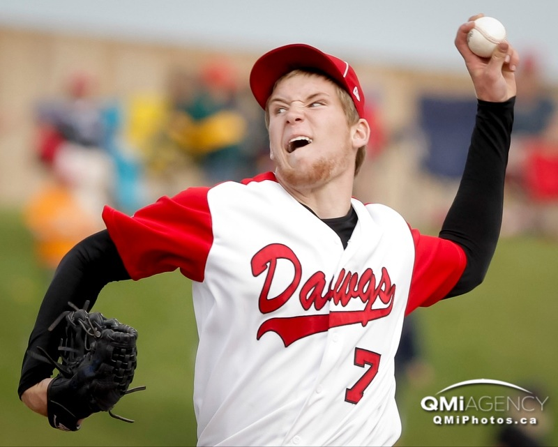 Hayden Cleveland of the Okotoks Dawgs pitches against the Lethbridge Bulls during Western Major Baseball League playoff action at Seaman Stadium in Okotoks, Alta. on Thursday, Aug. 1, 2013. It was Game 2 of the series between the Okotoks Dawgs and Lethbridge Bulls. Lyle Aspinall/Calgary Sun/QMI Agency