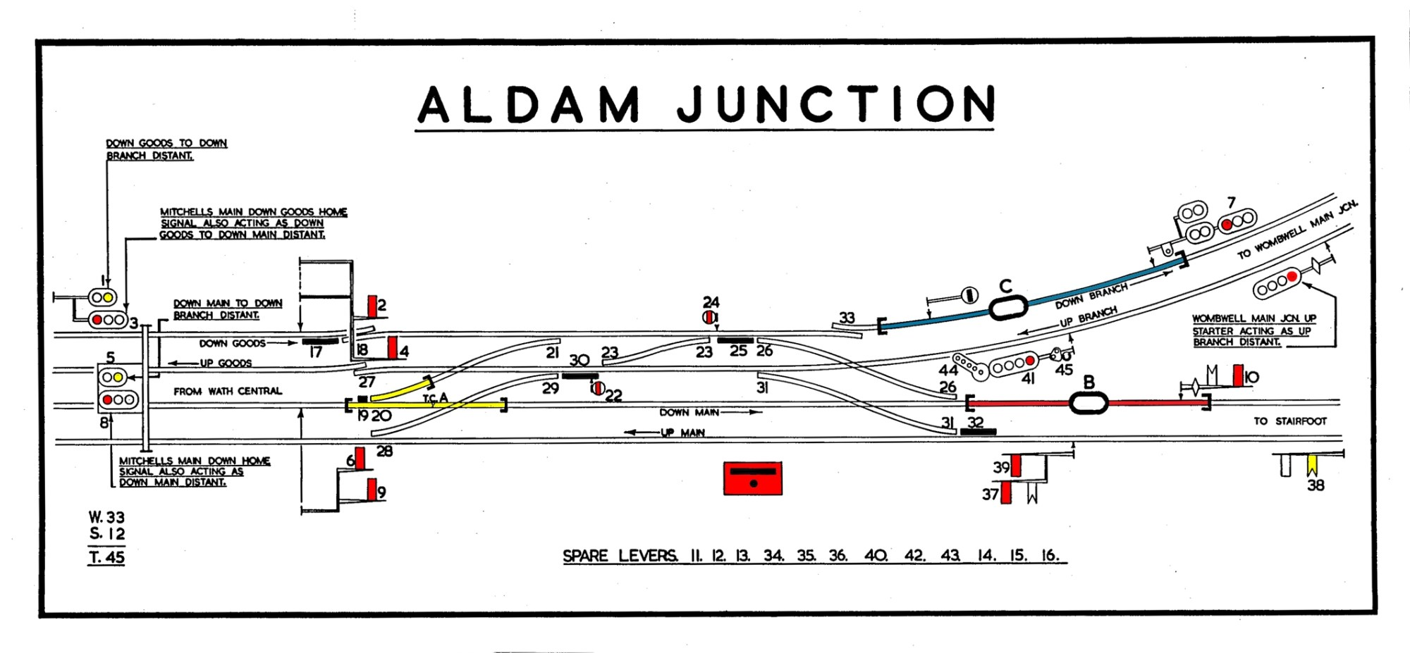 hight resolution of aldam junction sbd the final layout before closure diagram is dated 1982 the worsborough branch and also wombwell main junction had closed the