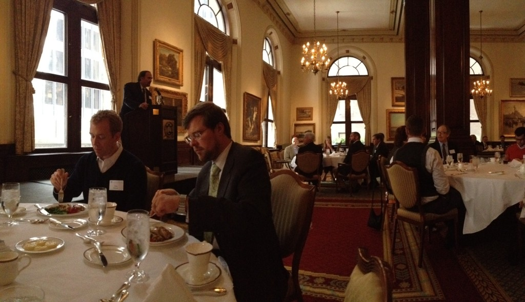 David Lynam, of Lynam & Associates, greets the Union League Club of Chicago audience.