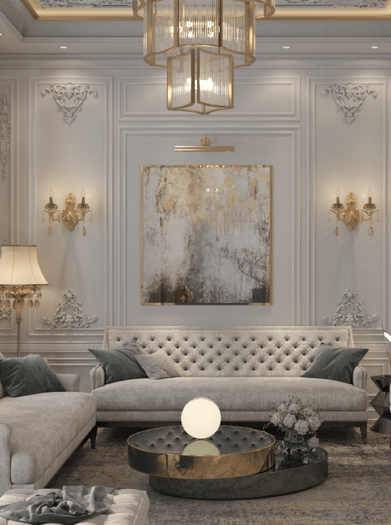 An opulent hotel room in ivory and gold
