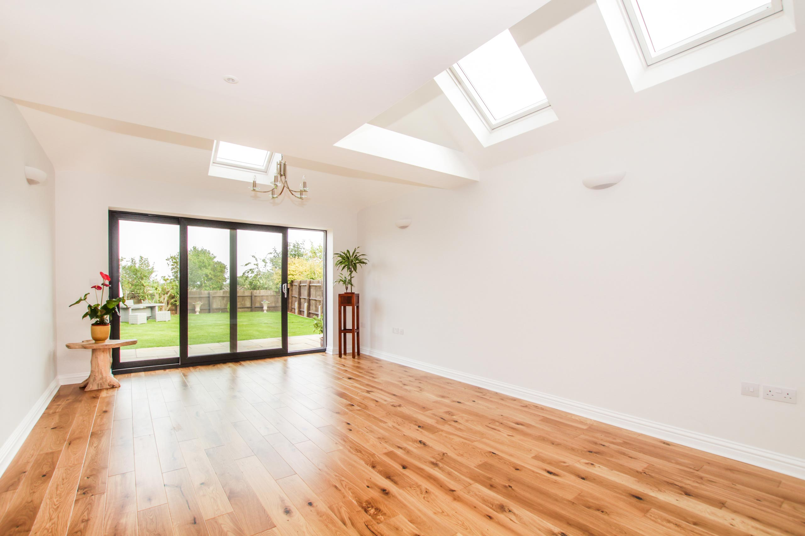 Interior of single storey building extension in Oxford with Bifold doors and velux windows