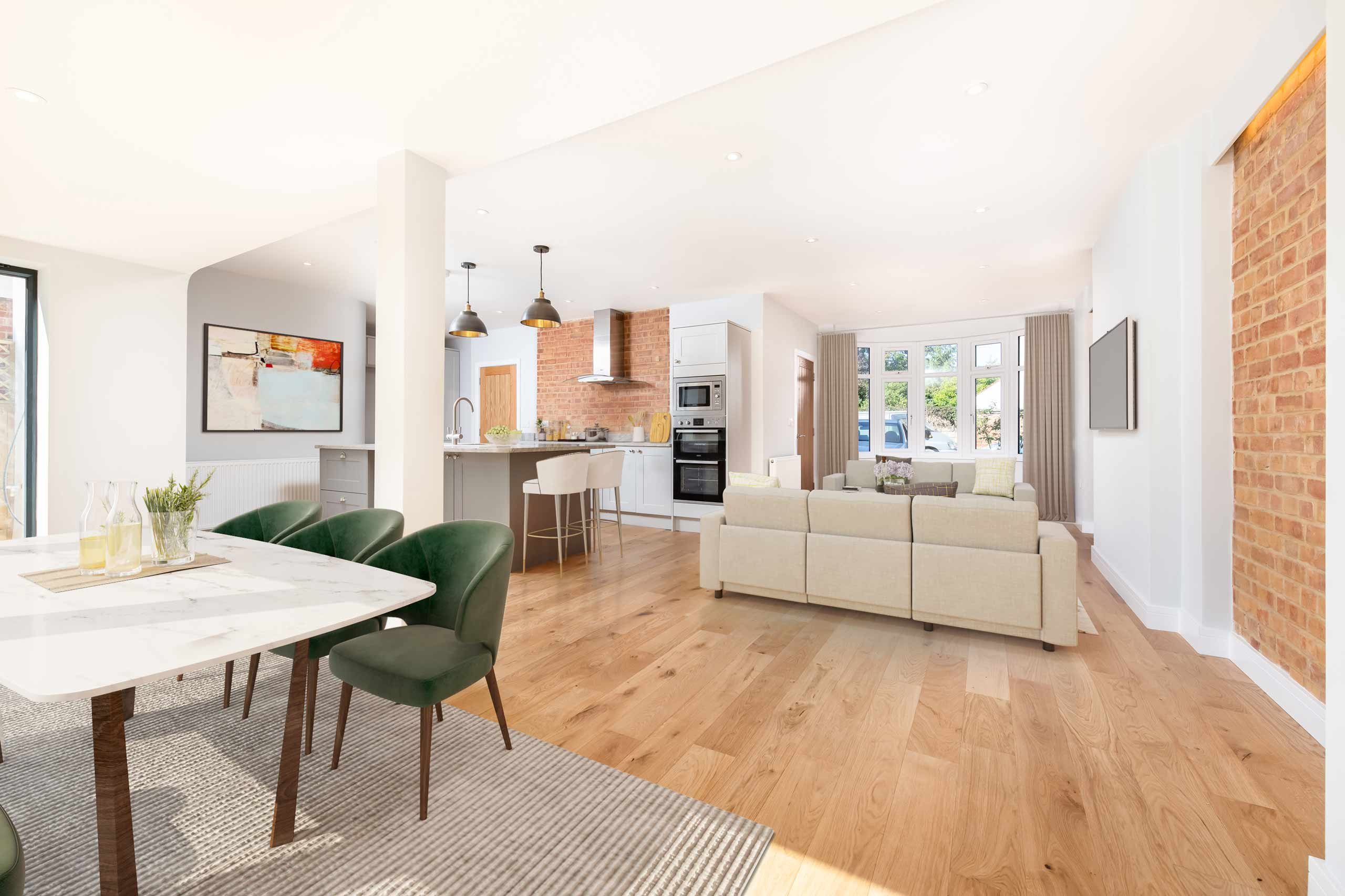 open plan kitchen and living area in a newly finished oxford house renovation