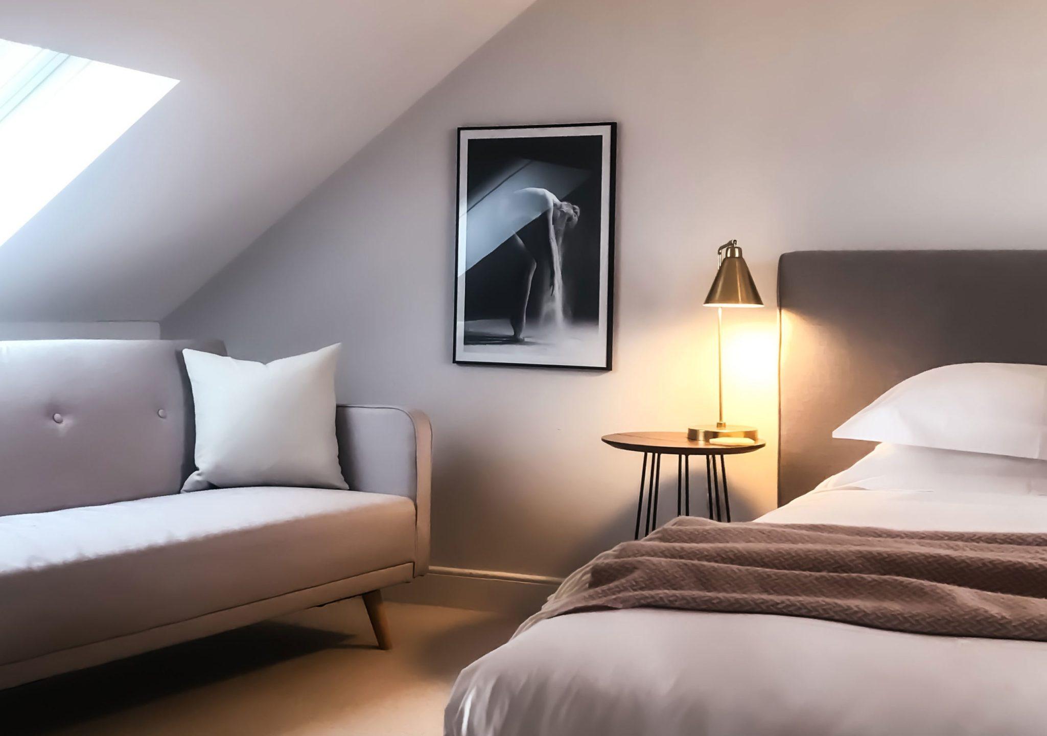bedroom in converted loft space