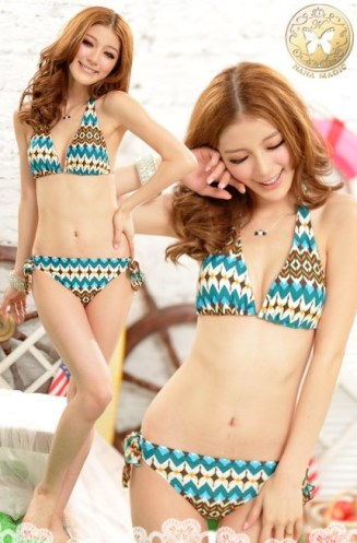 Fashion Style Three Pieces Bikini Set Blue
