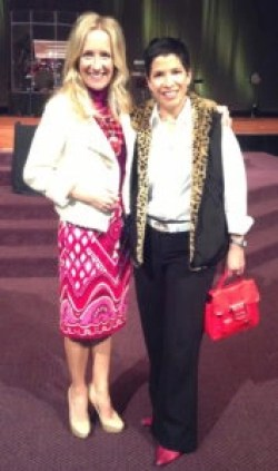 """Donning my """"redo"""" outfit with dear friend Lilly who mentioned she got her fun fur vest at Costco, and the bag and shoes are vintage. She does redo too!"""