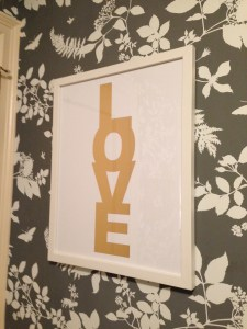 Overjoyed when Jen presented me with her famous gold metallic LOVE print!!