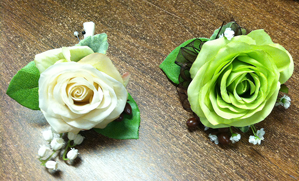 white-and-green-prom-flowers-on-table
