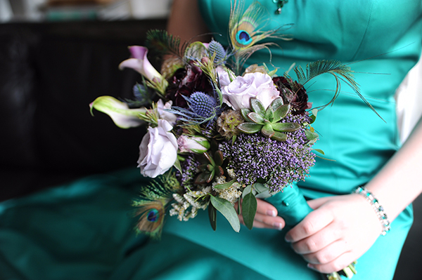 turquoise-prom-flowers-with-peacock-feathers
