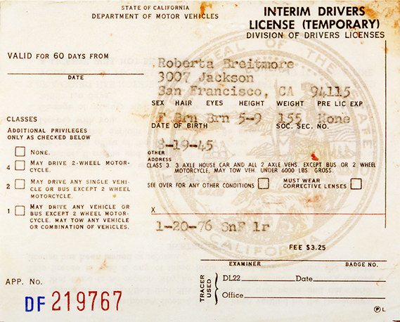 Roberta Brietmore - Roberta's Interim Drivers License